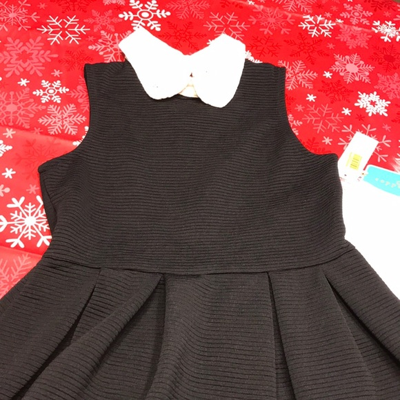 Girls Black Dress With Lace Collar Size 12